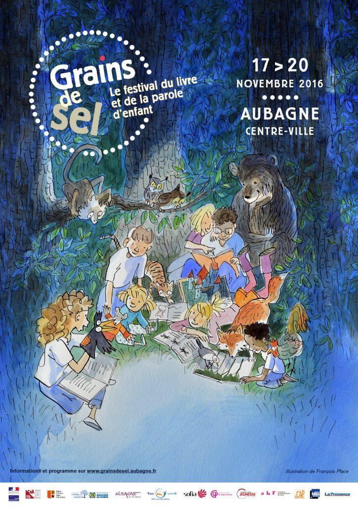 L'affiche de l'édition 2016 de Grains de sel, le festival du livre et de la parole d'enfant à Aubagne